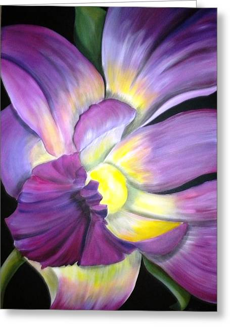 Purple Tropical Greeting Card by Debi Starr