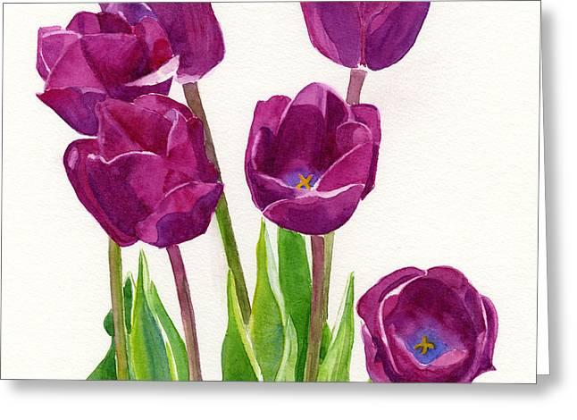 Purple Tulips Square Design Greeting Card by Sharon Freeman