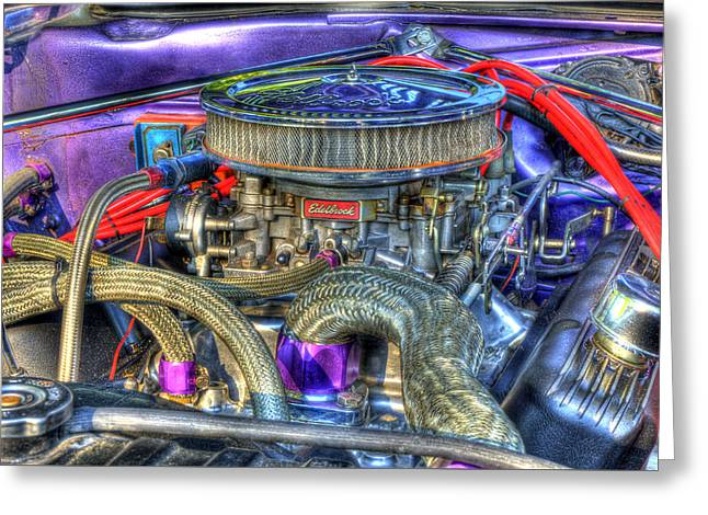 Purple Under The Hood Greeting Card by Thomas Young
