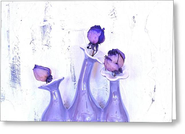 Purple Vases And Roses Greeting Card by Marsha Heiken