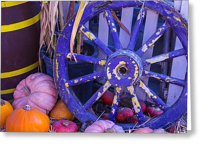 Purple Wagon Wheel Greeting Card