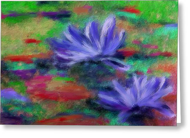 Purple Water Lillies Greeting Card by Renee Skiba
