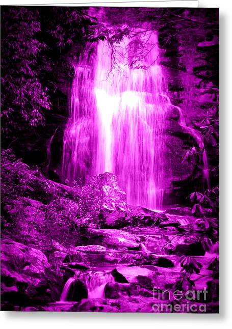 Purple Waterfall Greeting Card