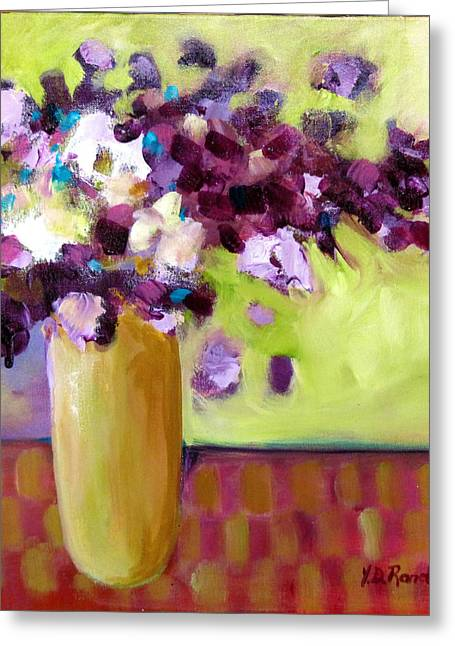 Purple White Flowers In Vase Greeting Card by Donna Randall
