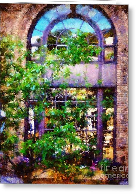 Purple Window Reflections Bethlehem Pa Greeting Card by Janine Riley