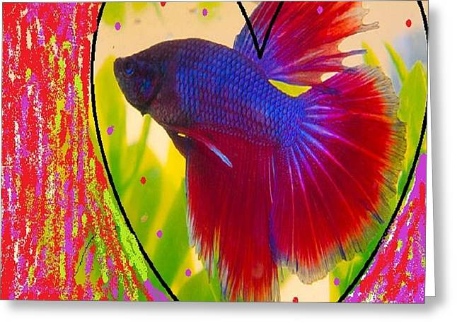 Purpred Fish Greeting Card