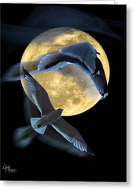 Pursuit Over The Moon. Greeting Card by Glenn Feron