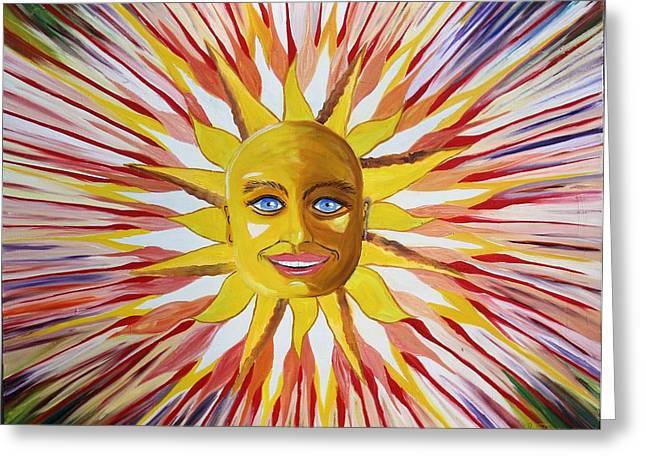 Pushing Sun Greeting Card