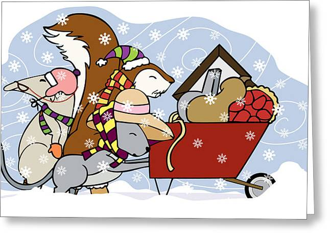 Pushing The Wheelbarrow Greeting Card by Christy Beckwith