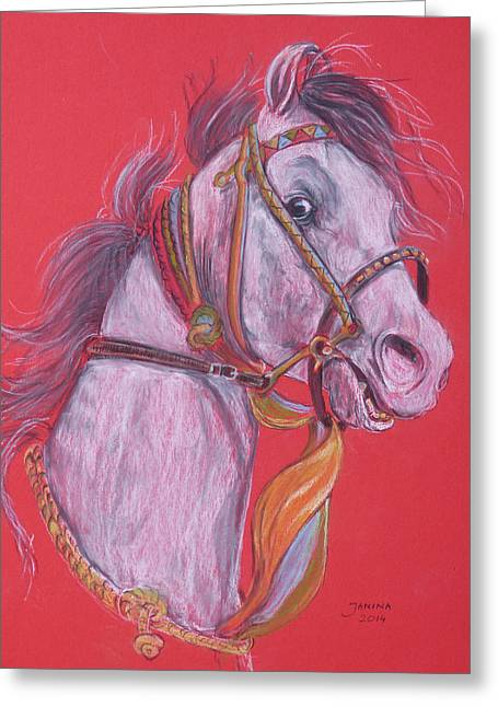 Greeting Card featuring the pastel Puskar Fair by Janina  Suuronen