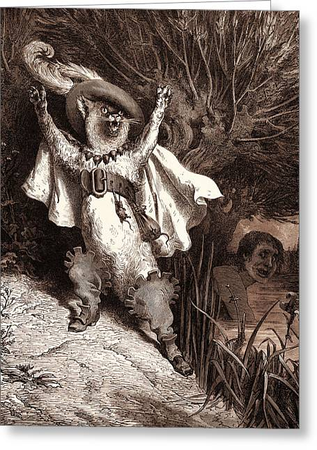 Puss In Boots, By Gustave DorÉ. Dore, 1832 - 1883 Greeting Card