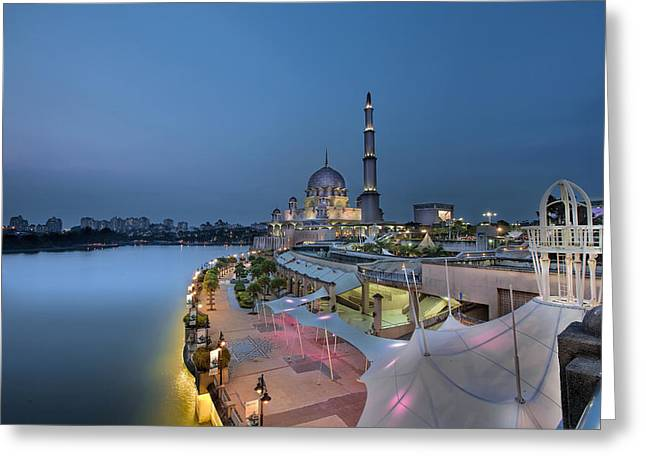 Putra Mosque At Blue Hour Greeting Card by David Gn