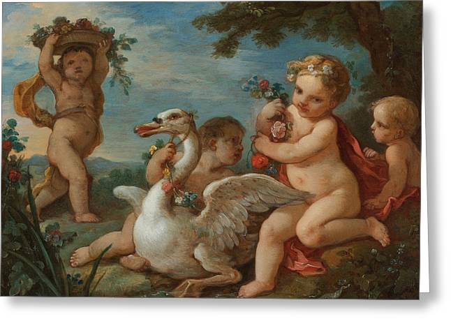 Putti Adorning A Swan With A Garland Of Flowers Greeting Card