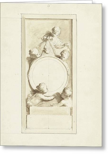 Putti Around A Medallion, Dionys Van Nijmegen Greeting Card by Quint Lox