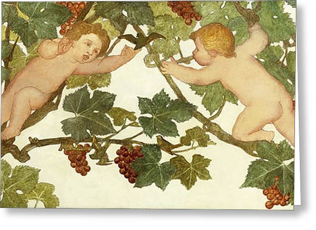 Putti Frolicking In A Vineyard Greeting Card by Phoebe Anna Traquair