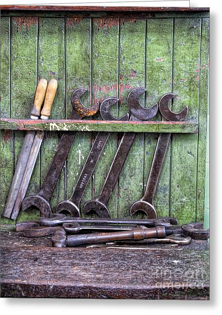 Putting A Spanner In The Works Greeting Card by Gillian Singleton