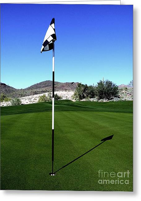 Putting Green And Flag On Golf Course Greeting Card