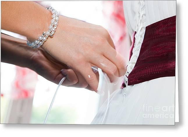 Putting On A Wedding Dress Greeting Card