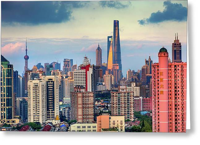 Puxi Pudong Buildings World Financial Greeting Card