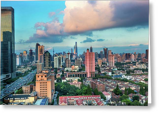 Puxi Pudong Buildings World Modern Greeting Card by William Perry