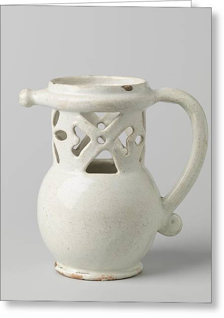 Puzzle Jug, Fopkan On Stand Ring With Worked Neck Greeting Card