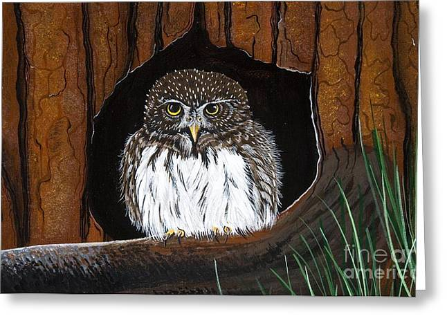 Greeting Card featuring the painting Pygmy Owl by Jennifer Lake