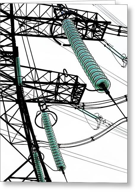Pylon With Glass Insulator Strings Greeting Card