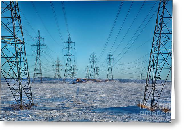 Pylons Abstract Greeting Card by Isabel Poulin