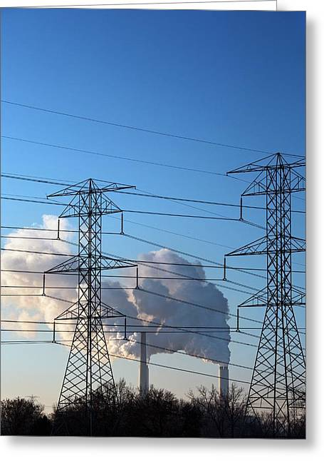 Pylons And Coal-fired Power Station Greeting Card by Jim West