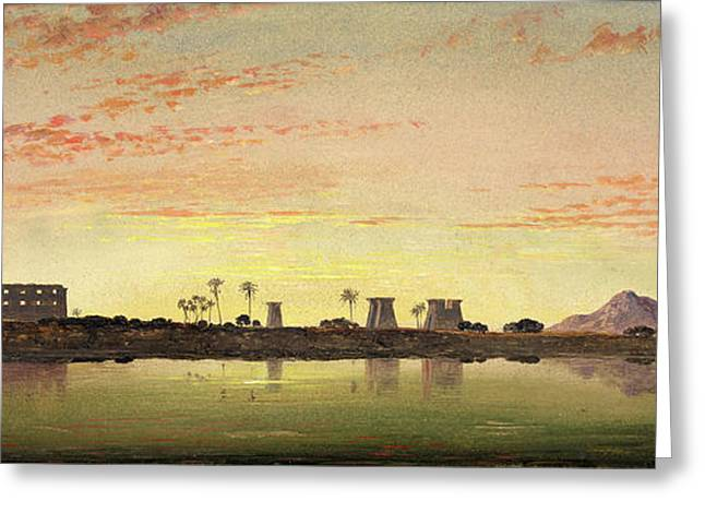 Pylons At Karnak, The Theban Mountains In The Distance Greeting Card by Litz Collection