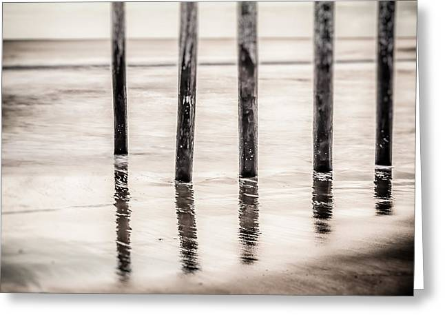 Greeting Card featuring the photograph Pylons In Black And White by Steve Stanger