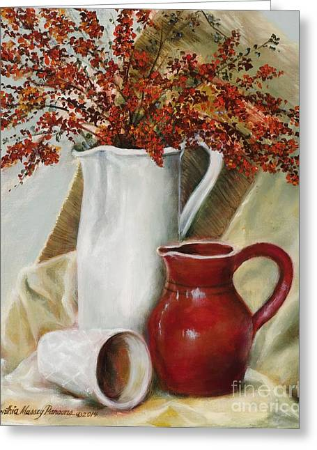 Greeting Card featuring the painting Pyracantha by Cynthia Parsons