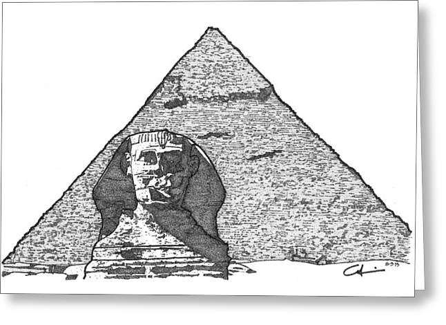 Greeting Card featuring the drawing Pyramid And Sphinx by Calvin Durham