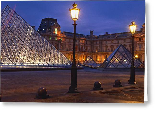 Pyramid At A Museum, Louvre Pyramid Greeting Card