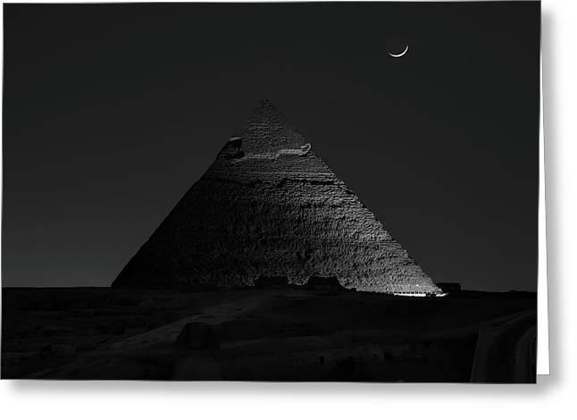Pyramid At Night Greeting Card by Vincent Chen