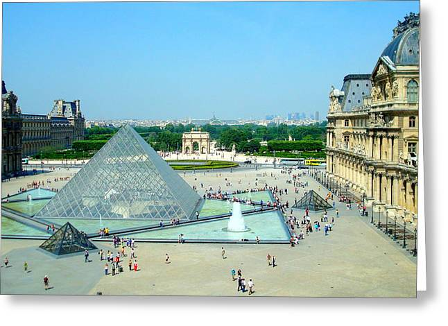 Greeting Card featuring the photograph Pyramid At The Louvre by Kay Gilley