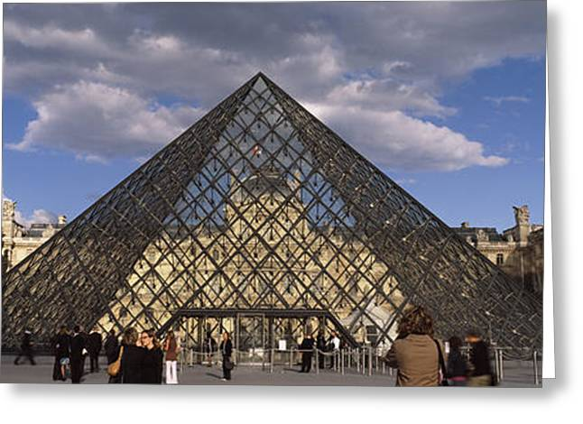 Pyramid In Front Of A Building, Louvre Greeting Card by Panoramic Images