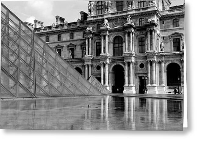 Pyramid In Front Of An Art Museum Greeting Card by Panoramic Images