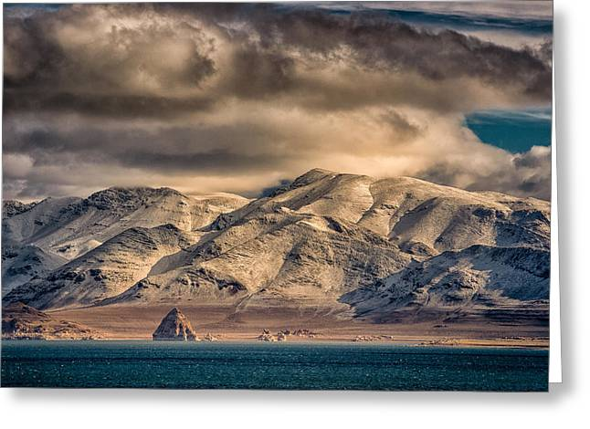 Pyramid Lake In The Morning Greeting Card by Janis Knight