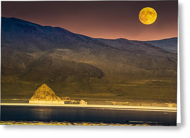 Pyramid Lake Moonrise Greeting Card by Janis Knight