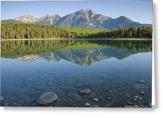 Pyramid Mountain And Patricia Lake Greeting Card by Bill Coster