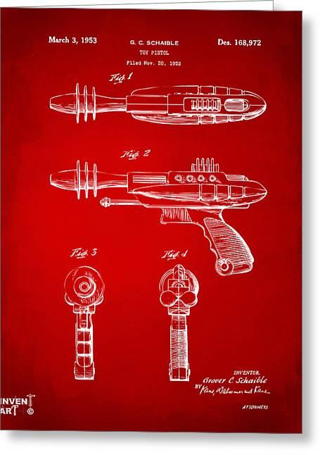 Pyrotomic Disintegrator Pistol Patent Red Greeting Card