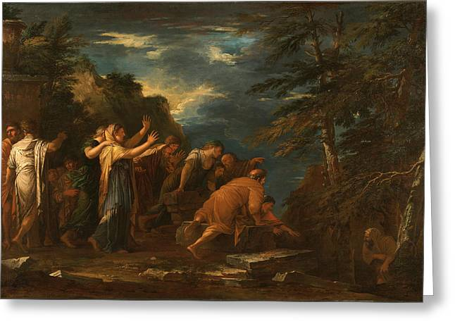 Pythagoras Emerging From The Underworld Greeting Card by Salvator Rosa