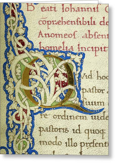 Q From A Life Of Christ Manuscript Greeting Card by British Library