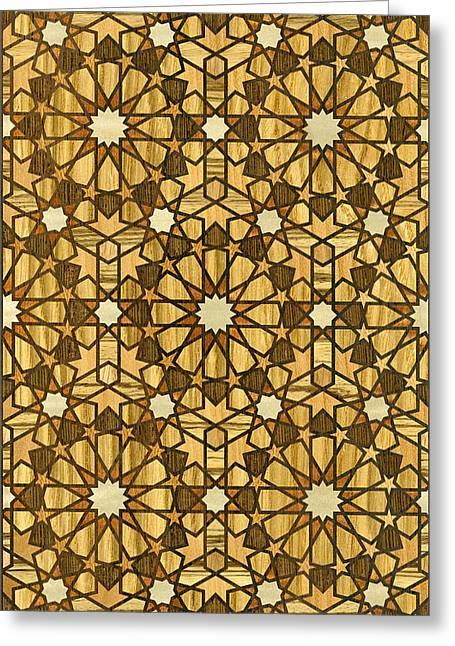 Qarawiyyin Mosque Geometric Pattern 1 Wood Greeting Card by Hakon Soreide