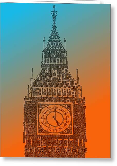 Qr Pointillism - Big Ben 1 Greeting Card