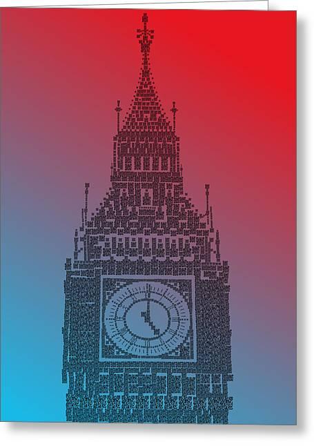 Qr Pointillism - Big Ben 2 Greeting Card