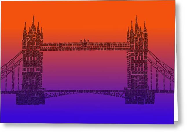 Qr Pointillism - Tower Bridge 1 Greeting Card