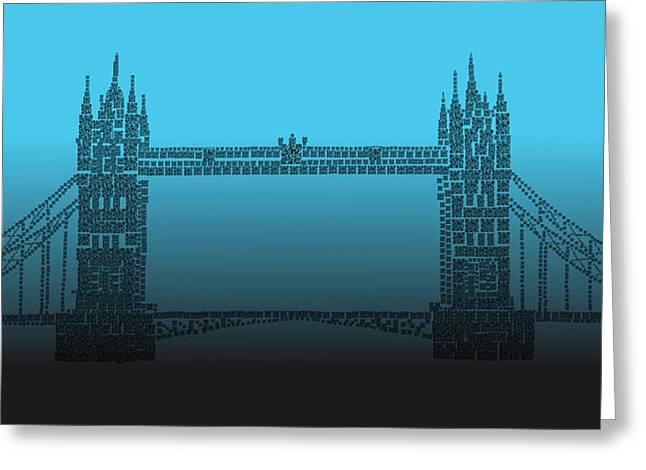 Qr Pointillism - Tower Bridge 2 Greeting Card