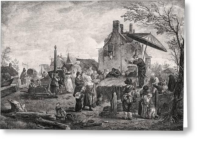 Quack At A Village Fair, 18th Century Greeting Card